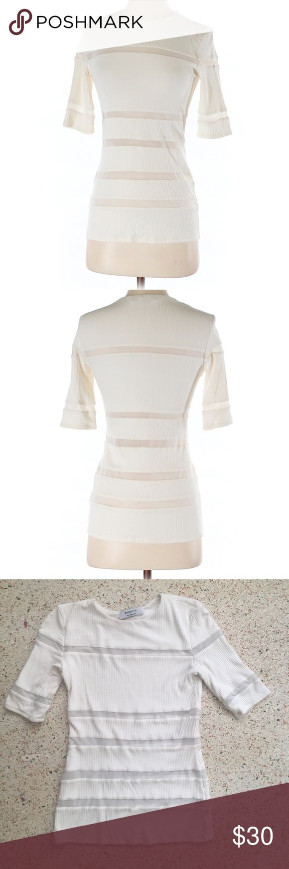 Like New! Bailey 44 Cream Women's Top Size Small Never worn and bought for $158.  All photos above are of actually top (including mannequin pics).  Mesh stripes that are slightly transparent give this top a fun trendy touch.  Size US Women's Small. Bailey 44 Tops