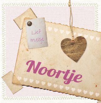 geboortekaartje Noortje | Blijkaartje.nl Retro, lief, hart, roze, meisje