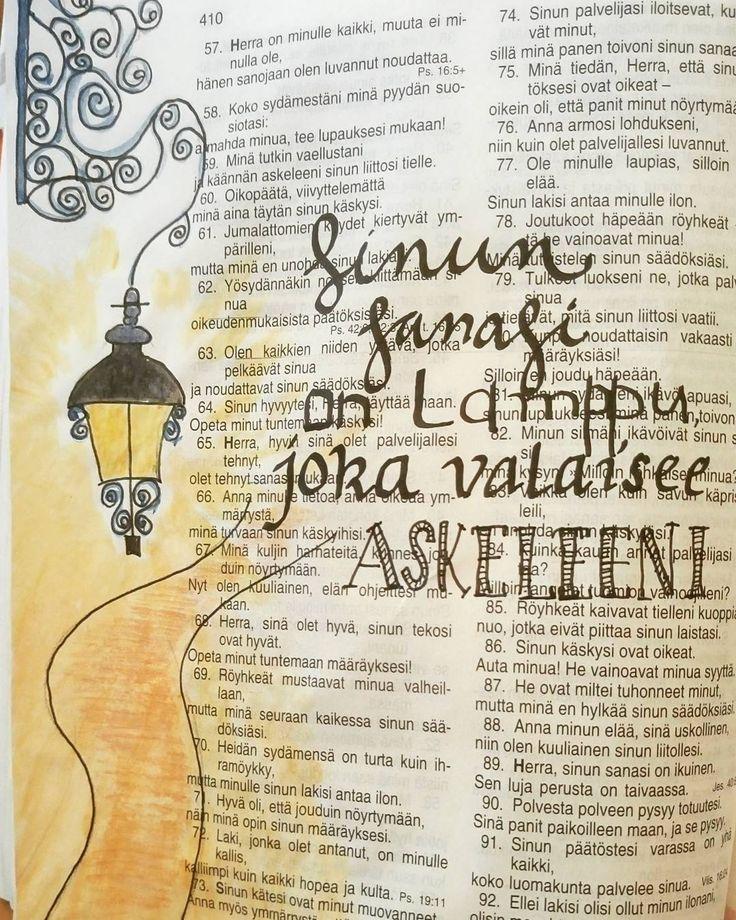 Valoa elämään. Psalmi 119:105. #biblejournaling #psalmit #raamattu #valoaelämään #taide #vesivärit #kalligrafia by noora_joensuunsrk