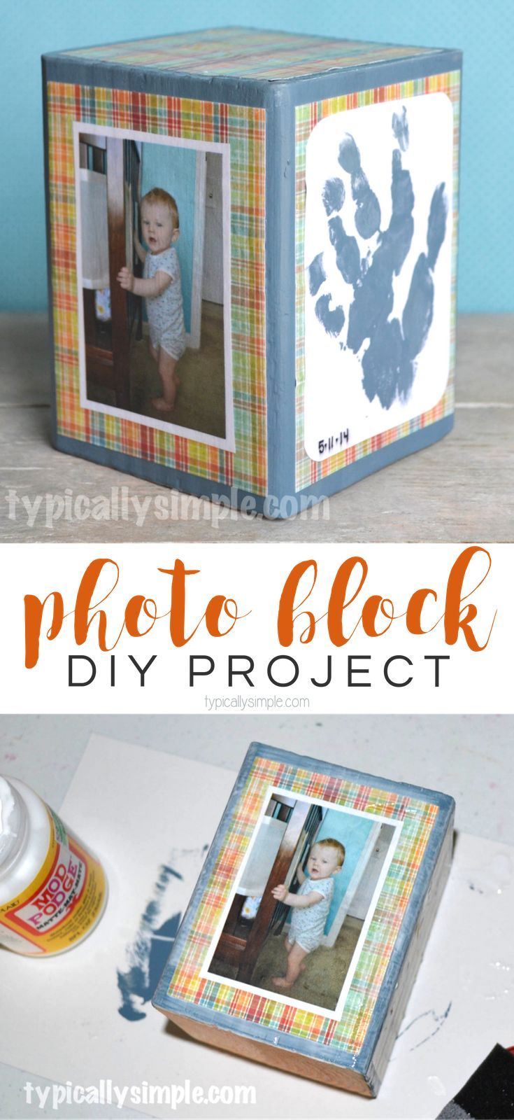 A homemade gift that is perfect for displaying favorite photos, handprints, or even little drawings made by the kids. This DIY Photo Block is a simple project to make as a Mother's Day, Christmas, or birthday gift!