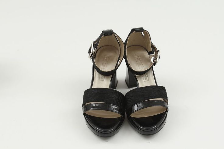 Open Toe Platform SINA 8cm Women Ankle Strap Heel Sandal Black Sheep Leather #SINA #OpenToe #Casual
