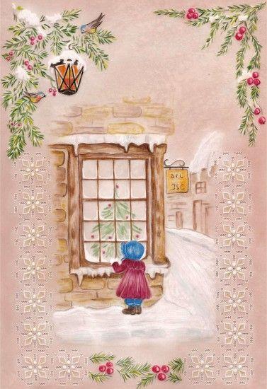 Petite fille la fen tre vellum pergamano parchment for Fille a la fenetre