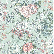 """Papier peint floral et botanique en relief 33' x 20,5"""" Ainsley Boho"""