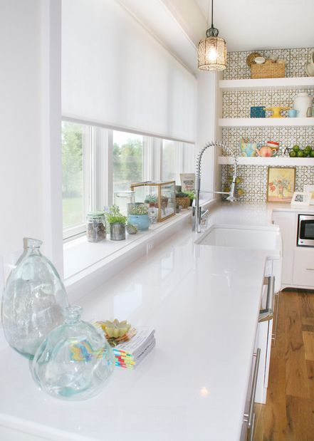 Love All The Windows In This Kitchen And The Wallpaper Behind Shelves