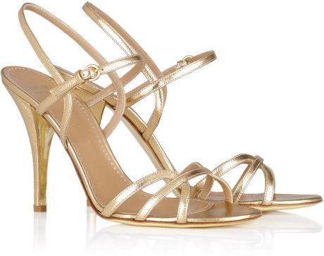 Moschino Cheap Chic Gold Strappy High Heel Sandal in Gold | Lyst ...