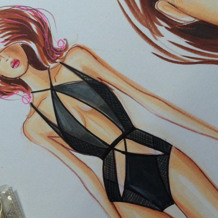 """Class Demo on coloring black swimsuit. Design inspired by #baotranchi #tutorial…"