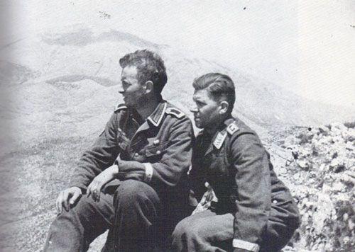 Two experienced veterans of Kreta: Unterfeldwebel A. Hass of Gebirgsjäger Regiment 100 (5.Geb.Div.) and Oberfeldwebel K.v.Gutowski (forward observer for the mortar battalion) of Fallschirmjäger Regiment 3 on hill 593. Hill 593 also known as Calvary...pin by Paolo Marzioli