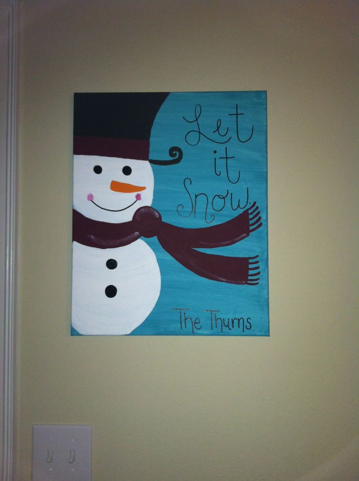 Snowman canvas painting