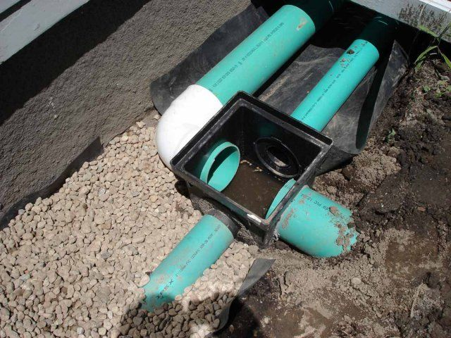 Perforated PVC ground gutters and solid PVC gutter drains connect at a distribution box.