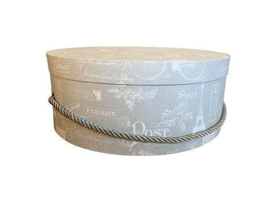Large 16 Hat Box In Grey French Script Etsy Hat Box Luxury Hats Bespoke Hats