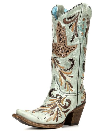 Another exclusive you don't want to miss - the handcrafted detail on this Women's Turquoise Snip Toe Embroidered inlay Boot will make this the ultimate Christmas gift! #corral #boots #exclusive