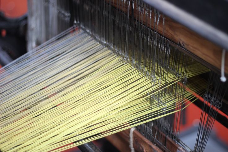 Astrakhan Scarf in production on the warp | McKernan Woollen Mills | Handmade scarves | Irish Design | Made in Ireland | Mens and Womens Accessories | Weaving and Knitting