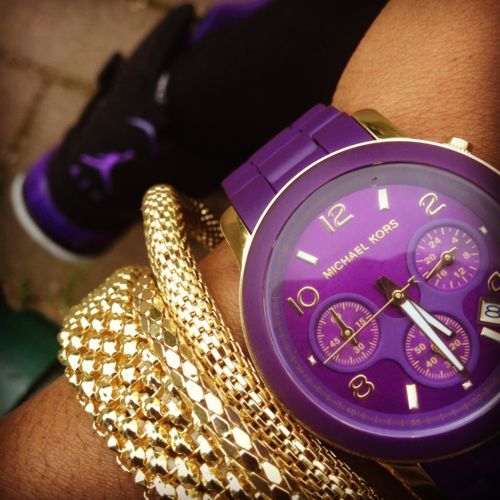 <3 Purple and Gold <3: Michaelkorswatch, Fashion Watches, Bling, Watches Purple, Style, Jewelry, Gold Watches, Michael Kors Watches, Accessories