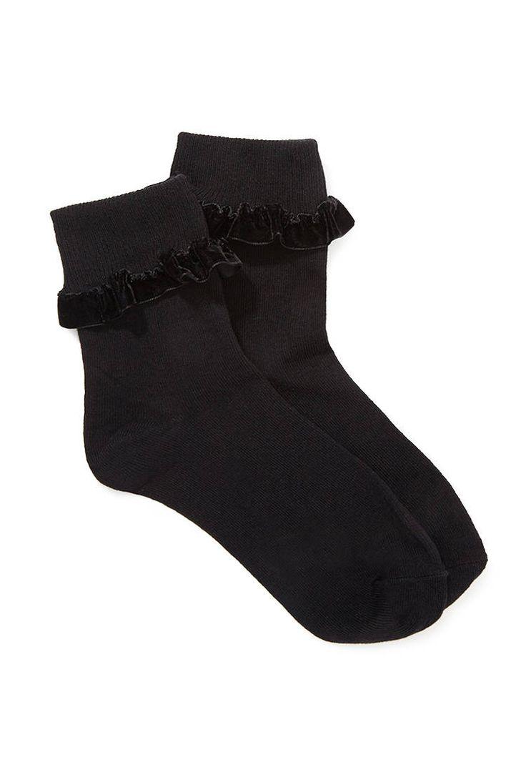 Socken mit samtigen Rüschen