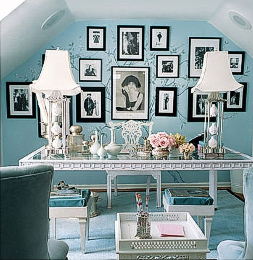 lovely lamps and collage wallWall Colors, Ideas, Dreams, Offices Spaces, Blue Wall, Tiffany Blue, Black White, Home Offices, Room