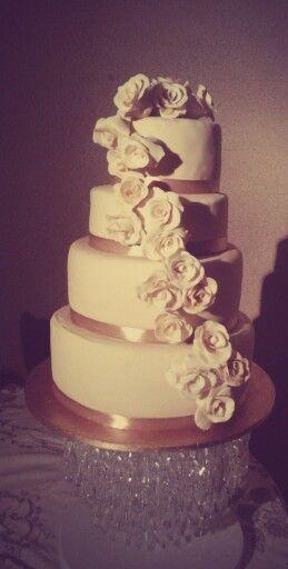 Ivory and gold wedding cake