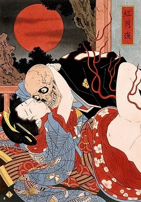 "The art of Takato Yamamoto has a beautiful, yet horrifying take on ukiyo-e. This one, titled ""Night of the Scarlet Moon"" is fairly tame compared to some of the rest. The original was sold for 9000 dollars."
