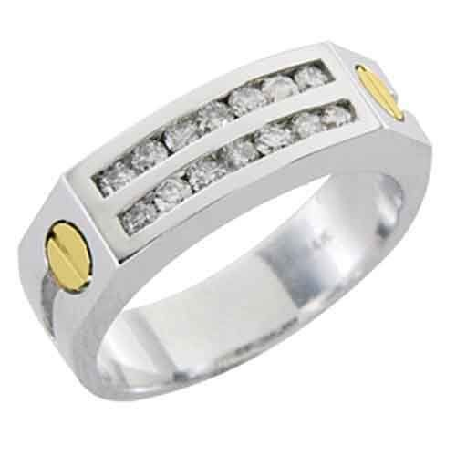 14k White Yellow Gold Mens Cartier Style Diamond Ring 75 Carats TheJewelryMaster