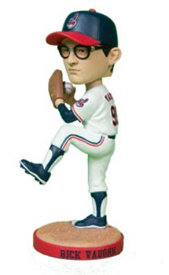 """That's Charlie Sheen!  He played a pitcher who needed glasses in the baseball movie """"Major League"""" -- in which the Cleveland Indians finally have a winning team.  So on the film's 20th anniversary, the Indians gave away a bobblehead to their fans -- of Charlie Sheens' character!"""