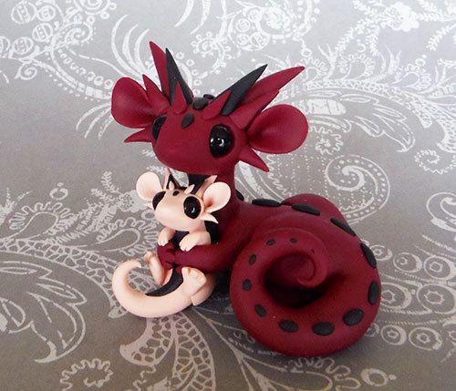 Mama and Baby Scrap Dragons by DragonsAndBeasties on Etsy