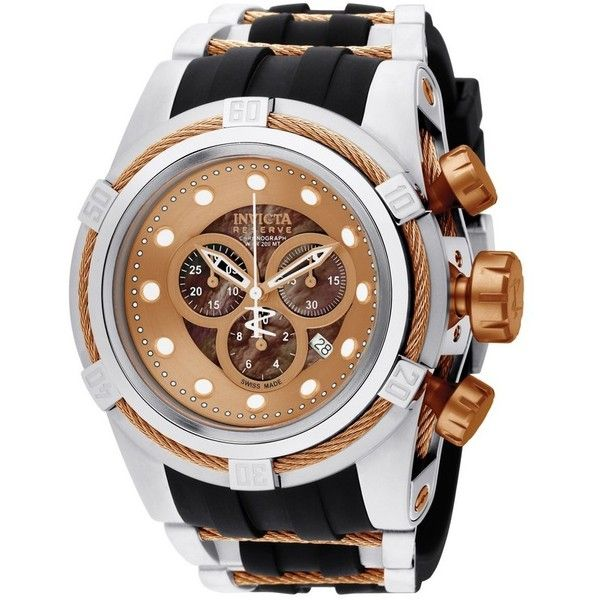 Invicta bolt 53mm brown dial polyurethane strap swiss luxury dress... ($619) ❤ liked on Polyvore featuring men's fashion, men's jewelry, men's watches, mens diamond bezel watches and invicta mens watches