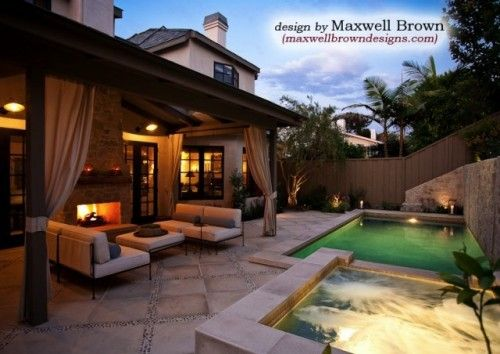 great use of a small space with a pool and gorgeous covered patio.  love the curtains