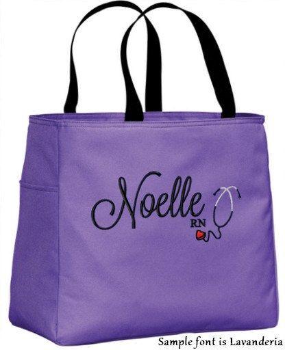 personalized monogrammed nurse tote bag handbag by tinasembroidery   21 98