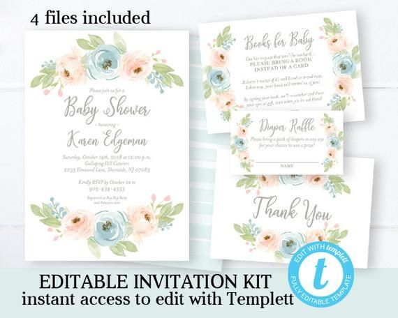 photo regarding Printable Invitation Kit identified as Watercolor Floral Little one Shower Invitation Package Gender Impartial