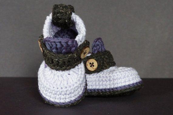 Gehäkelte Babyschuhe häkeln Baby Booties lila von jdurayful auf Etsy