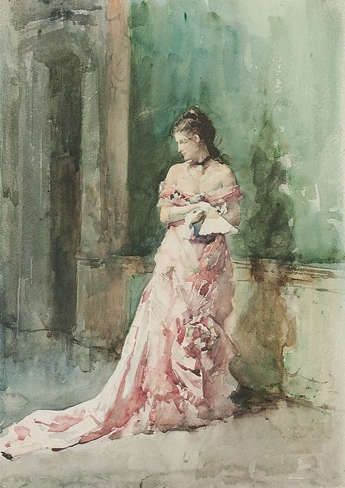 Francisco Pradilla y Ortiz. Portrait of a lady, full-length, in an evening dress, holding a fan. Watercolor.