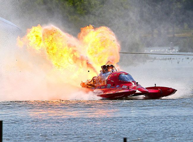 Top fuel hydro drag boat pilot Bryan Sanders' engine explodes during the final race at Lake Nasworthy in San AngeloPhotograph: Dan Wozniak/ Dan Wozniak/NewSport/Corbis
