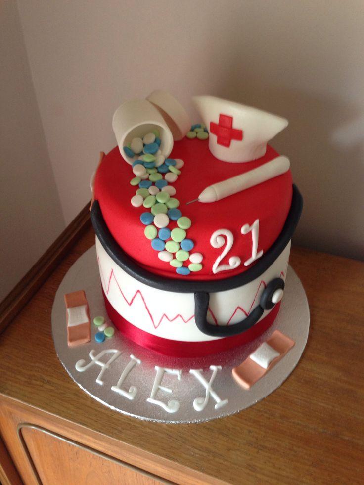 Nurse Themed Birthday Cake Image Inspiration of Cake and Birthday