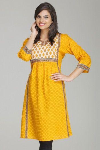 Magical Mustard A-Line Cotton Kurta By Farida Gupta