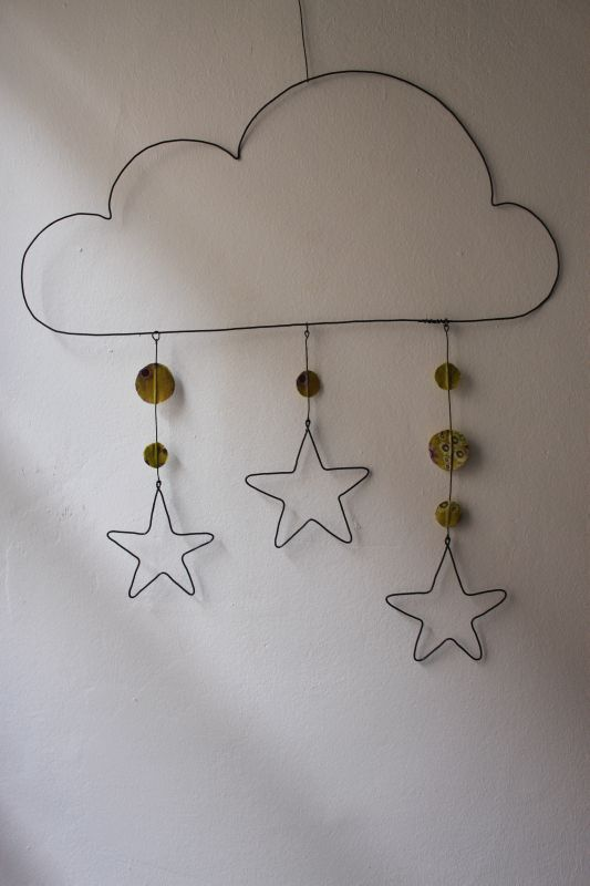 This would be so cute in the play room, but blue beads and raindrops....