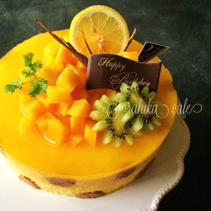 マンゴーとヨーグルトムースでbirthdayケーキ