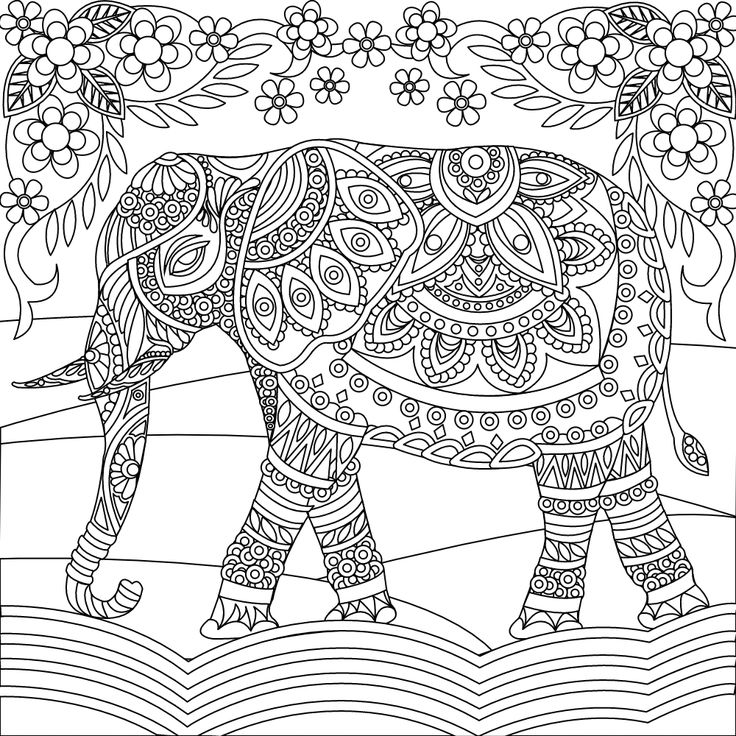 143 best images about Elephant Coloring Pages for Adults ...