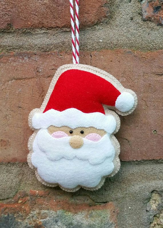 Adorable handmade felt Santa ornament by TillysHangout on Etsy
