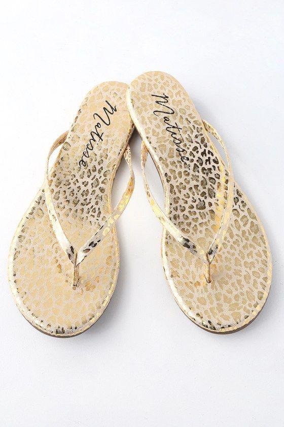 2d7cf2ee899 Matisse MALIBU GOLD LEOPARD PRINT FLAT THONG SANDALS