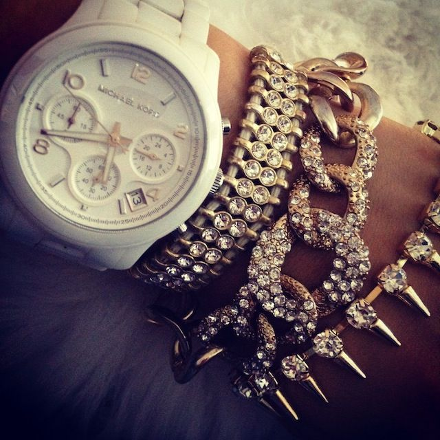 Michael Kors watch and bracelet stack ❤