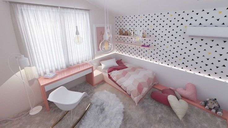 chambre de fille en blanc et rose avec lampadaire, suspensions, chevet et ruban LED