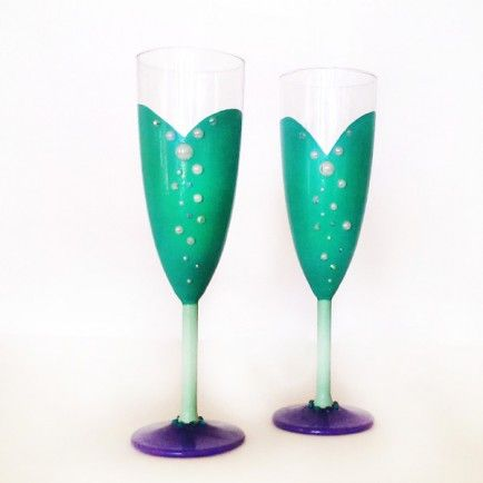 (Ariel - The Little Mermaid Champagne Flutes) Cheers to 2014: Disney-Inspired Glassware to Ring in the New Year
