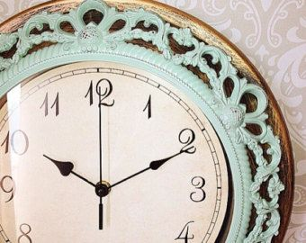 SALE Shabby Chic WALL CLOCK in Heirloom White or by VintageEvents