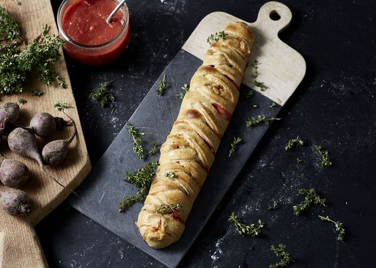 Braided Pizza Loaf with Castello Extra Creamy Blue, Beetroot, Pine Nuts and Thyme
