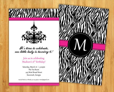 Pink Zebra Print Birthday Invitation