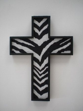 ZEBRA PRINT Wall Cross - handpainted wood cross & zebra print eco felt. via Etsy.