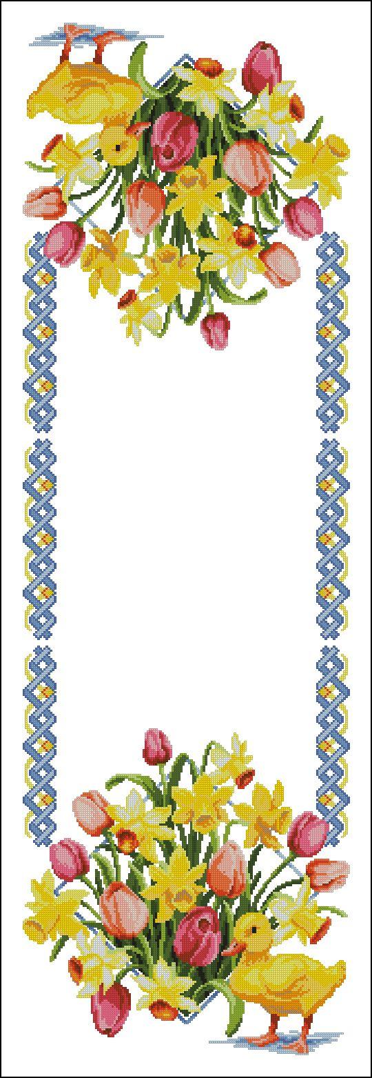 Esquema diagrama de ponto cruz com papoilas cornflowers a toalha