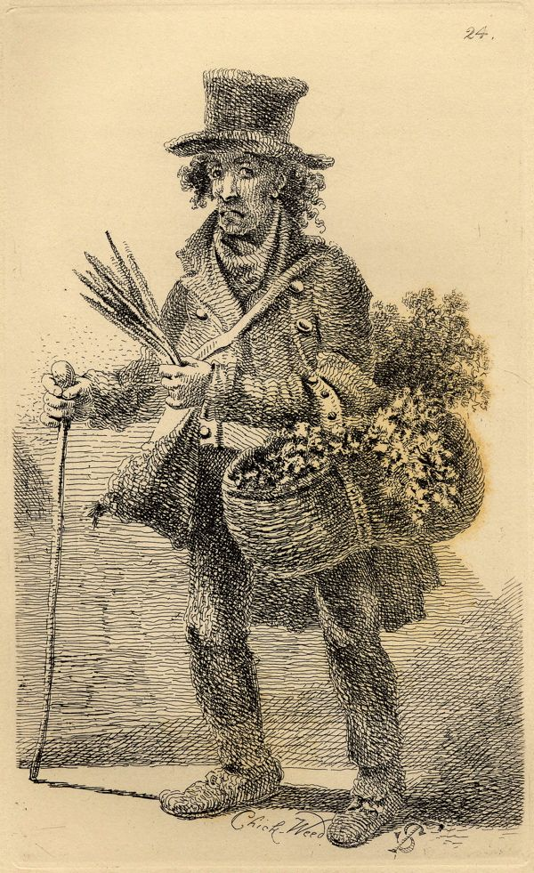 """Vagabondiana"" by John Thomas Smith (1817): ""George Smith, a brush maker afflicted with rheumatism who sold chickweed as bird food."""