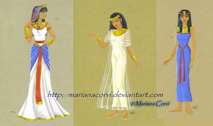 La vestimenta utilizada por las mujeres era llamaba Kalasiris; era un vestido ajustado, largo y ceñido, tambien solían llevar prendas sencillas de los cuales fue evolucionando la ropa.