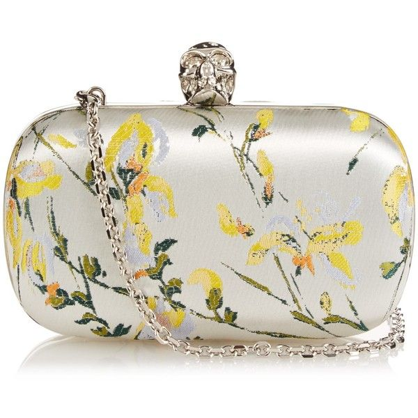 Alexander McQueen Skull jacquard box clutch found on Polyvore featuring bags, handbags, clutches, bolsas, purses, studded purse, hard clutch, white purse, white box clutch and handbags purses