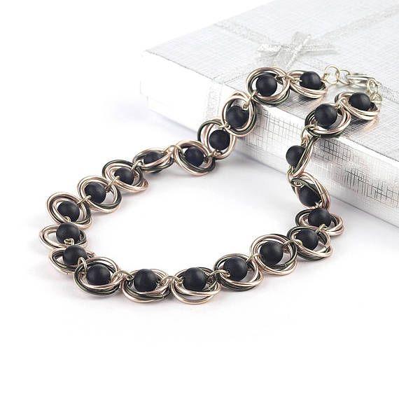 Onyx necklace - Black onyx necklace - Black  necklace - #onyxnecklace  #onyx #gemstonenecklace #fashion #necklace #blacknecklace #chainmaille #chainmaillenecklace